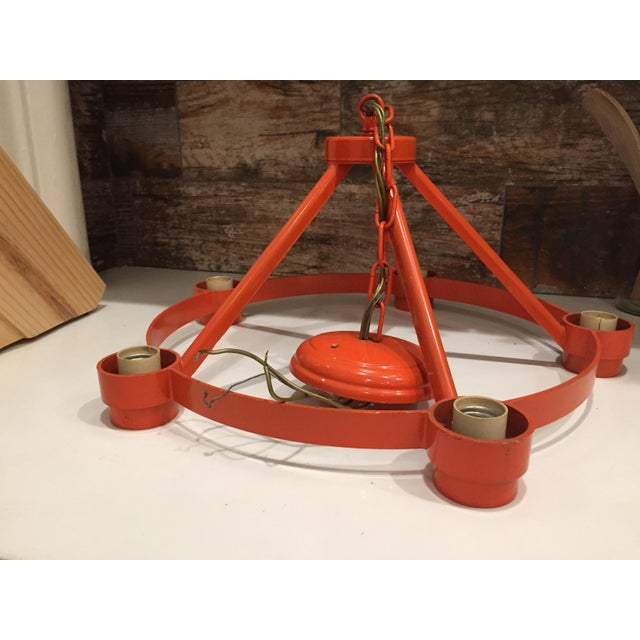 Vintage Mid Century Orange Chandelier - Image 4 of 9