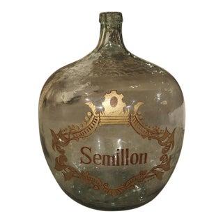 Large Hand Blown Semillon Demijohn Bottle from France