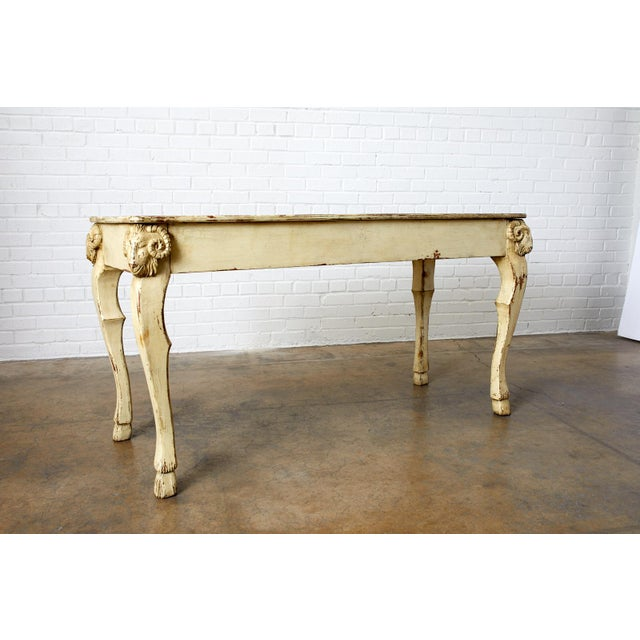 Rustic Italian Lacquered Ram's Head Motif Writing Table For Sale - Image 11 of 13