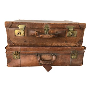 Pair of Vintage Leather Suitcases For Sale