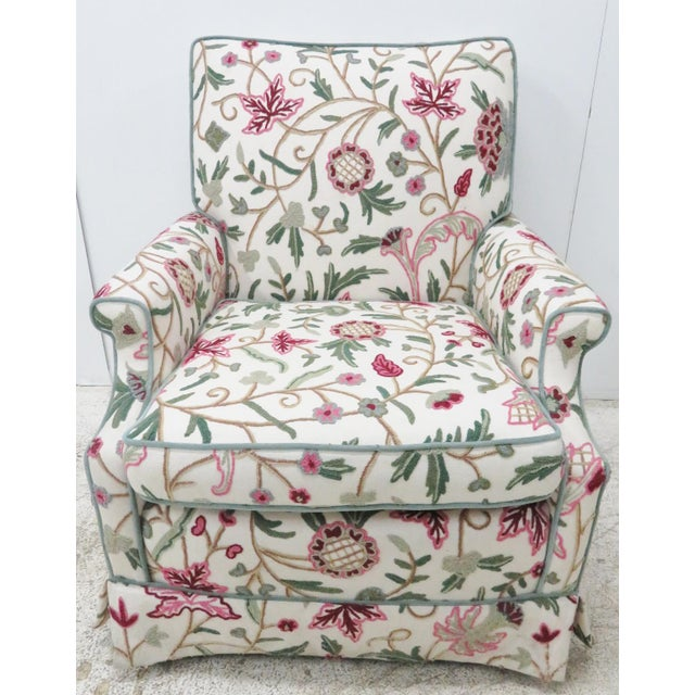 Floral Crewelwork Club Chair For Sale - Image 4 of 5