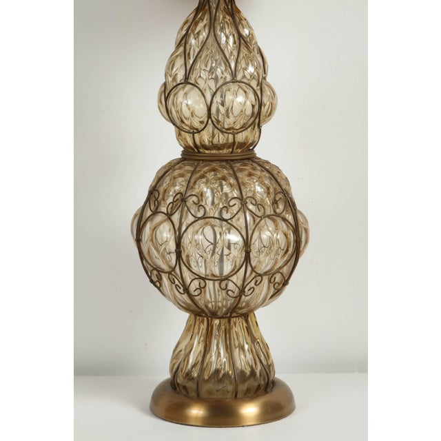 Hollywood Regency Murano Glass Italian Table Lamp by Marbro For Sale - Image 3 of 6
