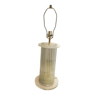1970sl Glass Rod and Lucite Lamp Attributed to Gaetano Sciolori For Sale