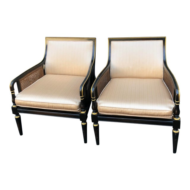 Hollywood Recency Black & Gold Cane Arm Low Club Chairs - a Pair For Sale