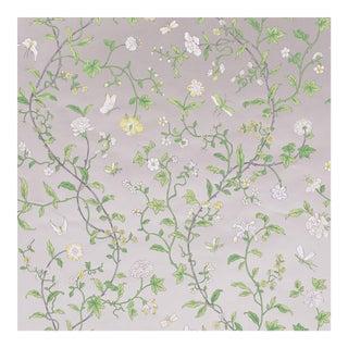 Sample - Schumacher Floraison Wallpaper in Citron Shimmer For Sale