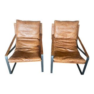 Contemporary Leather Sling Chairs - a Pair For Sale