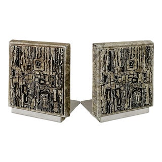 Vintage Brutalist Style Bookends - a Pair For Sale