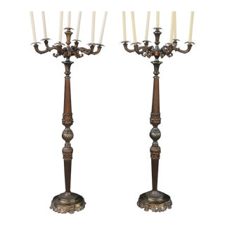 Spanish Floor Candelabras - a Pair For Sale