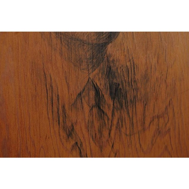 Mid-Century Modern Raul Manteola, Portrait of a Gentleman, New York, 1964, Rare Pencil on Wood For Sale - Image 3 of 6