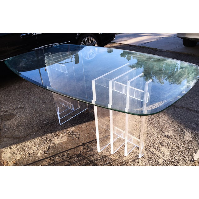 Lucite Sculptural Base Dining Table - Image 3 of 6