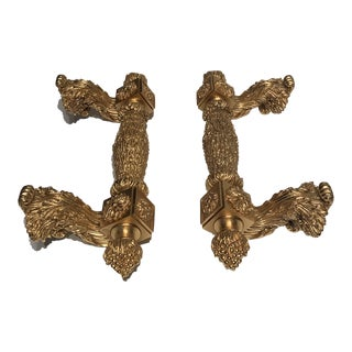 Sherle Wagner Gold Plated Wine Room Door Pulls-A Pair For Sale