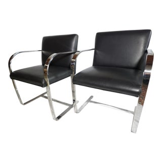 1970s Vintage Mie Van Der Rohe for Knoll Black Leather Flat Bar Chairs - a Pair For Sale