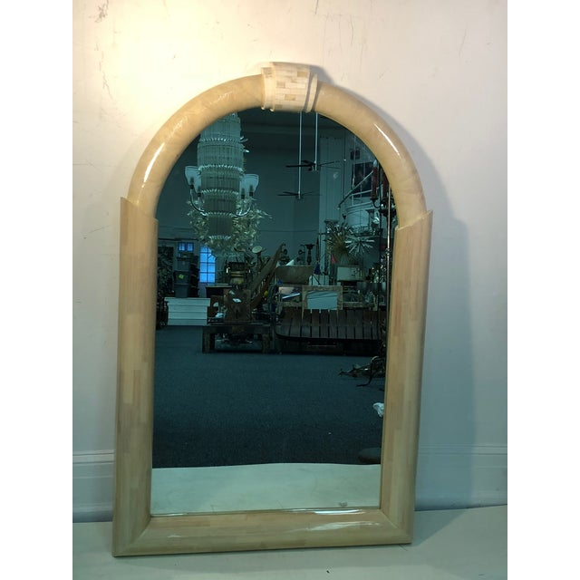 """Lacquered and tessellated large scale mirror, circa 1970's. Measures 57"""" by 37"""" and 4"""" deep, in good condition. $5,500"""