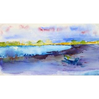 Monique Tachdjian, French Watercolor Landscape - Rainbow Lake For Sale