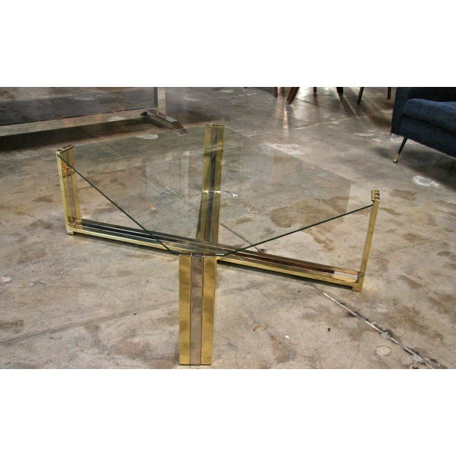 Gold Italian Coffee Table Brass and Steel, 1960s For Sale - Image 8 of 9