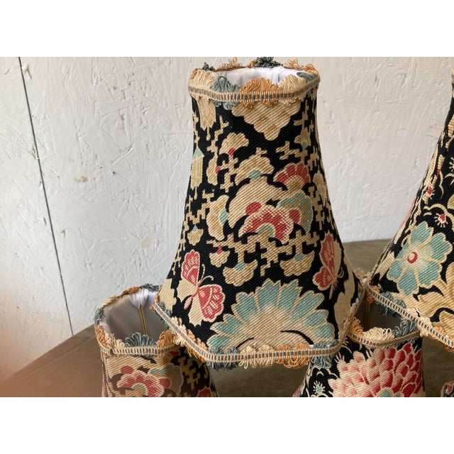 French Antique Textile French Floral Lampshades - Set of 8 For Sale - Image 3 of 6