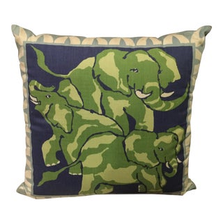 Block Printed Elephants Pillow Cover For Sale