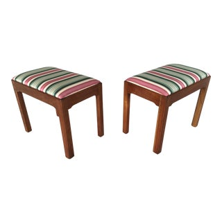 Stickley Solid Cherry Old Mansion Chippendale Style Stools - a Pair For Sale