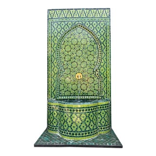 Green Moroccan Tile Wall Fountain For Sale