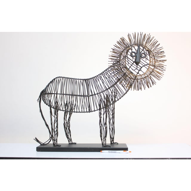 Brutalist Brutalist Style Lion Wire Scupture For Sale - Image 3 of 11