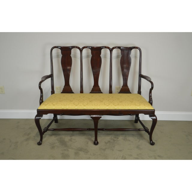 Queen Anne Custom Mahogany Triple Back Settee For Sale - Image 10 of 13