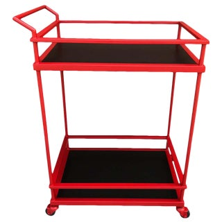 French Modern Red Enameled Bar Cart For Sale