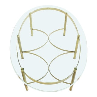 Oval Brass and Glass Coffee Table For Sale