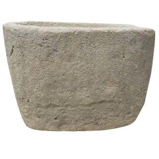 Antique Rectangular Limestone Water Vessel For Sale