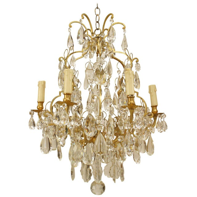 Late 19th Century 19th Century French Louis XV Style Bronze and Crystal Chandelier For Sale - Image 5 of 5