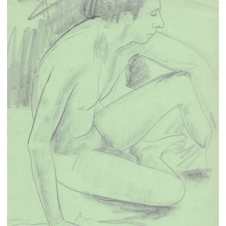 Seated Male Nude Drawing by James Bone For Sale