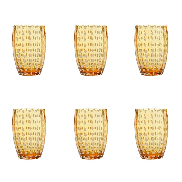 Contemporary Perle Tumbler in Amber - Set of 6 For Sale - Image 3 of 3