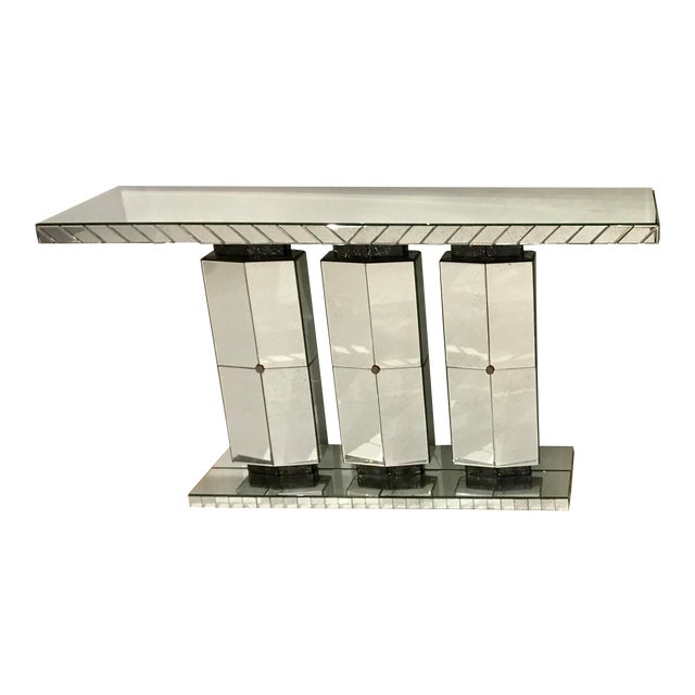 Maitland Smith Modern Mirrored Console Table For Sale