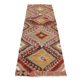 Vintage Runner Turkish Kilim Rug - 3′2″ × 10′10″