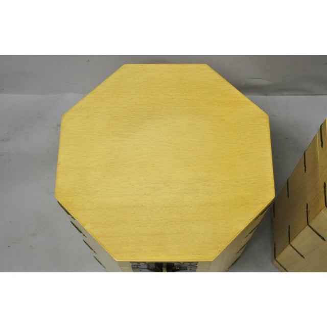 Yellow Vtg Cerused Mahogany Chinese Storage Chest Trunk Octagonal Side Tables - a Pair For Sale - Image 8 of 13