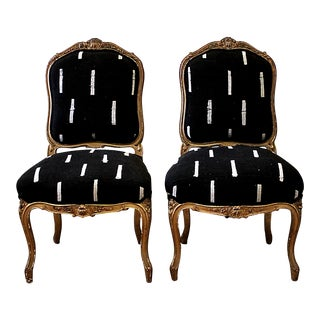 Late 19th Century Giltwood Louis XV Style French Chairs- A Pair For Sale