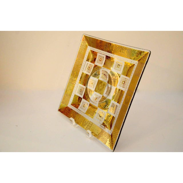 Mid Century Modern Georges Briard Golden Celeste Pattern Fused Glass Serving Tray - Image 6 of 12
