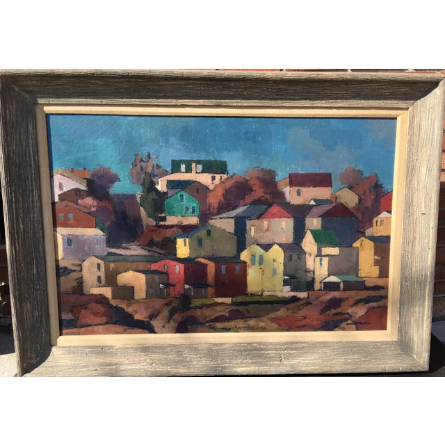 """Mid-Century Modernist Oil Painting """"Manayunk"""" by Antonio Martino For Sale In Philadelphia - Image 6 of 8"""