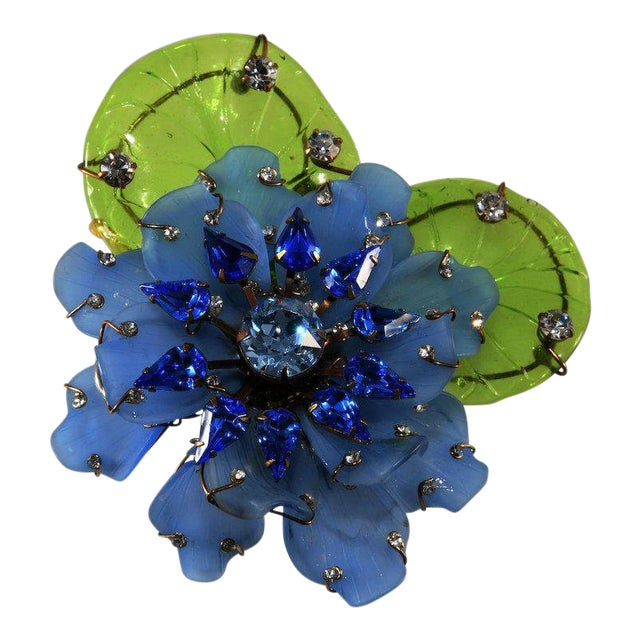 """Lawrence Vrba Huge 4.5"""" Blue Flower Brooch Pin Rhinestones With Glass Leaves For Sale"""