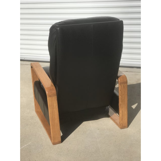 1970s 1950s Original Borge Mogensen Black Leather Lounge Chair With Ottoman For Sale - Image 5 of 10