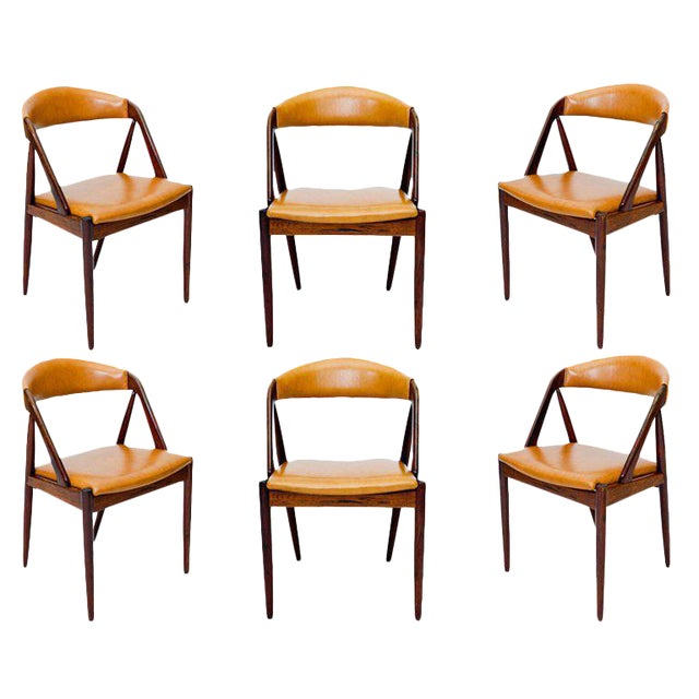 Set of Six Rosewood Kai Kristiansen Chairs For Sale
