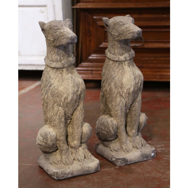2000 - 2009 Vintage French Weathered Carved Stone Statuary Scottish Deer Hounds - a Pair For Sale - Image 5 of 11