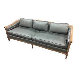 Vintage Hollywood Regency Silk Upholstered Sofa For Sale