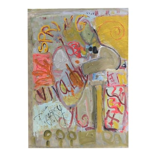 Abstract Expressionist Whimsical Painting on Canvas For Sale