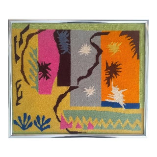 "Vintage Mid Century Modern Matisse ""Cut Outs"" Framed Hand Needlepoint Art For Sale"