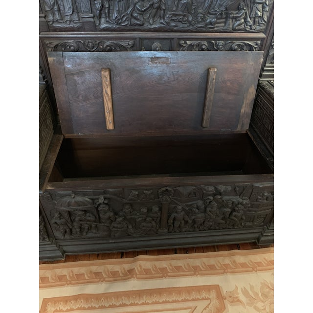 16th Century 16th Century Antique High Gothic Pictorial Bench For Sale - Image 5 of 12