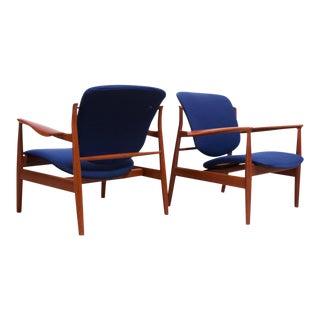 Finn Juhl Teak Lounge Chairs Model Fd-136 for France & Daverkosen For Sale