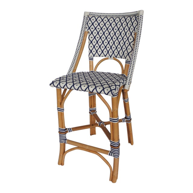 Bistro Counter Chair, White & Navy Blue, Rattan For Sale