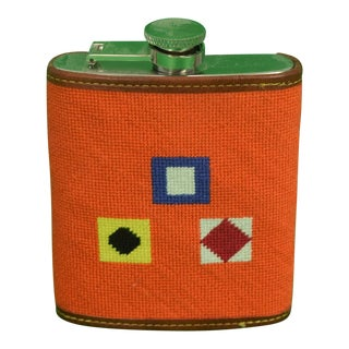 Needlepoint Signal Flag 6 Oz Flask For Sale