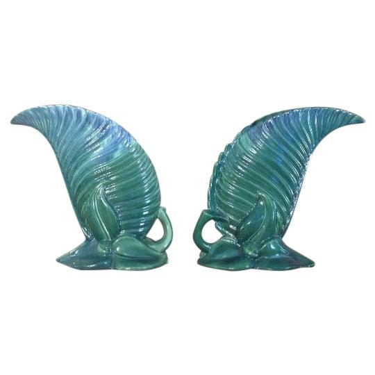 Royal Haeger Emerald Leaf Vases - A Pair - Image 1 of 6