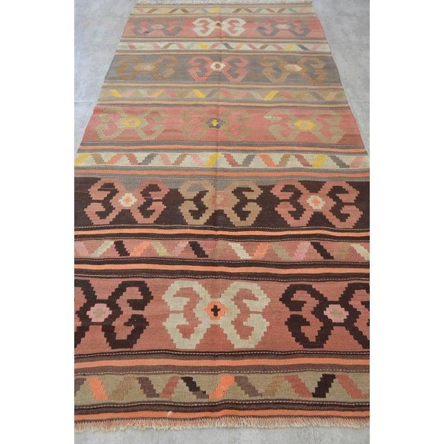 Vintage Anatolian Kars Kilim Area Rug - 5′2″ × 11′ - Image 5 of 10